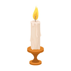 burning candle from paraffin wax. Easter single icon in cartoon style vector symbol stock illustration.