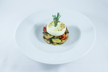 Hot smoked kaponat vegetables with baked cheese