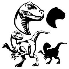velociraptor clipart black and white set and sillhouette
