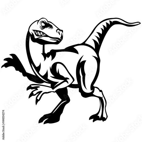 velociraptor lineart stock image and royalty free vector files on rh fotolia com Raptor Clip Art Black Cartoon Raptor Dinosaur