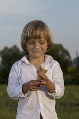 Young cute blonde boy eating a tasty ice cream, on green grass, outdoors on sunny summer afternoon
