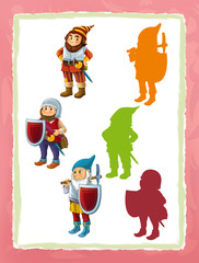 cartoon page with medieval characters different knight dwarfs game with shapes