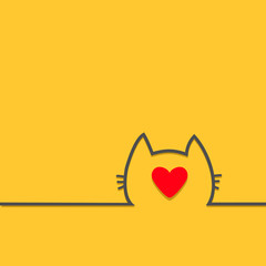 Black cat head face contour silhouette line icon. Big red heart. Cute cartoon character. Kitty kitten with whisker Baby pet Yellow background. Isolated Flat design