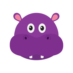 Hippopotamus head face. Cute cartoon character hippo with tooth. Violet behemoth river-horse icon. Baby animal collection. Education card for kids. Flat design. White background. Isolated.