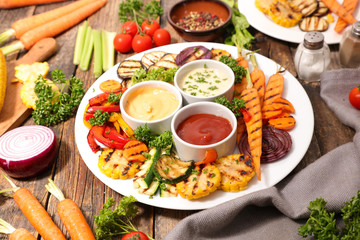 grilled vegetable and dips