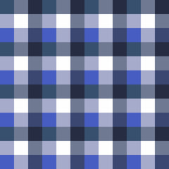 Scottish Seamless Tartan Plaid  Retro square tablecloth pattern. Texture with blue colors, vector background design for fabric and decor