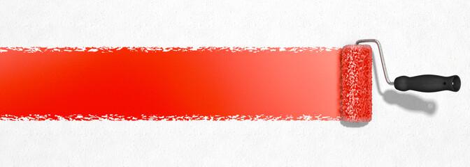 Rote Farbe mit Farbroller auftragen