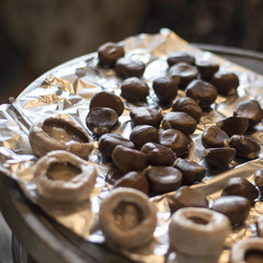 Grilled Chestnuts and Mushrooms on a Heating Stove in a Country House in a Small Town of Anatolia