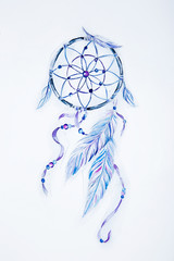 Sketch of a beautiful dream catcher on a white background.