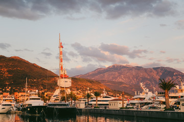 Crane on the quay in Tivat, Montenegro, Porto-Montenegro district.
