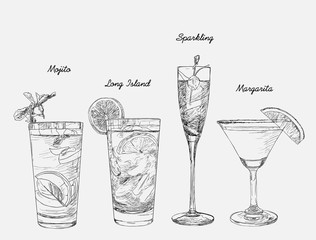 Cocktails - set of hand-drawn drinks, Margarita , Ling Island Ice tea , Jelly Sparkling , Mojito.