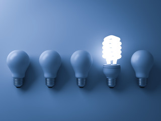 Energy saving light bulb , one glowing compact fluorescent lightbulb standing out from unlit incandescent bulbs on blue background , individuality and different creative idea concepts . 3D rendering.