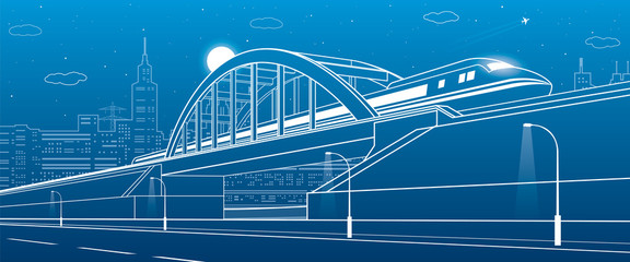 Train traveling along the railway bridge, highway. Urban infrastructure illustration, modern city on background, industrial architecture, towers and skyscrapers, arplane fly. Vector design art