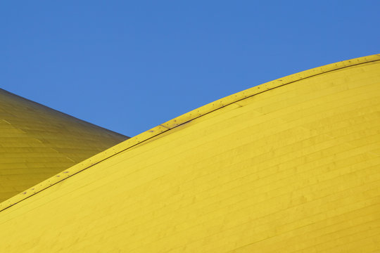Abstract architectural detail . modern architecture, yellow panels on building facade.