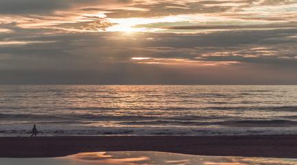 Beautiful sunset above the Atlantic Ocean. Spain
