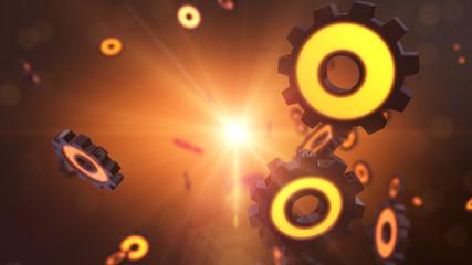 Orange 3D gear and cog explosion