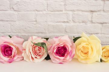 Pink Rose Mock Up. Styled Stock Photography. Floral Frame, Styled Wall Mock Up. Rose Flower Mockup, Valentine Mothers Day Card, Giftcard, White Desk Mockup