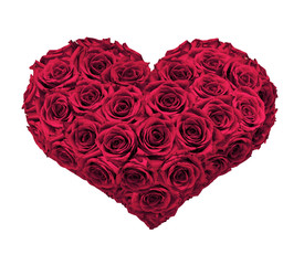 Bouquet of hearth shaped red pink roses as a simbol of romantic love
