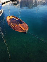 Drowned wooden boat