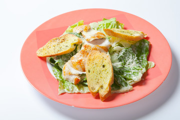 Caesar salad plate with cheese and garlic bread