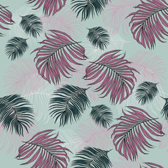 Seamless Pattern of tropical Palm Leaves