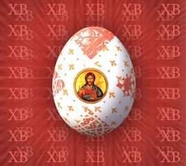 """Пасхальное яйцо с ликом Христа на бардовом фоне из букв """"ХВ"""""""