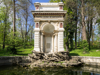 The Cantacuzino fountain in Carol Park, Bucharest, was built in 1870 at the expense of former Bucharest's mayor, George Grigore Cantacuzino.