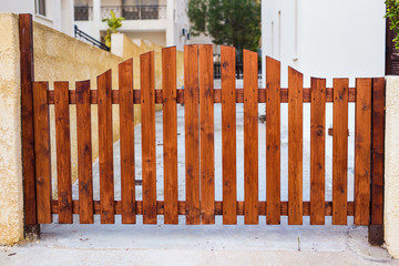 Wooden gate design, outdoor day light