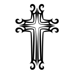 Tattoo tribal cross designs. Isolated vector sketch of a tattoo. Art tribal tattoo.