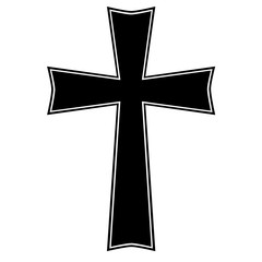 Cross logo isolated sketch on white background.