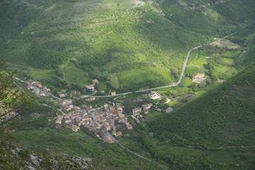 Aerial view of the small town of Isola Fossara, mount Cucco NP, Umbria, Italy