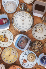 Collection of vintage rusty watches and parts