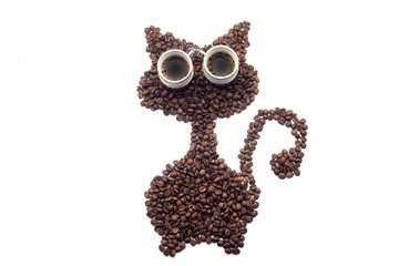 Cat made of coffee beans over white background