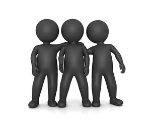 friends business people 3d isolated rendering buddies pals silver grey