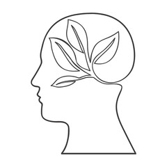 monochrome silhouette of human head with ecology in mind vector illustration