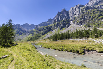 Pathway towards Val Buscagna near the homonym river, Alpe Devero, Valle Antigorio, Piedmont, Italy.