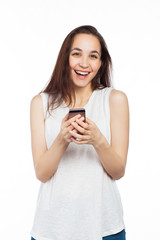 Very happy woman using a smartphone