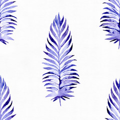 Hand drawn seamless pattern with blue palm leaves, drawn with purple and blue watercolor and brush. Leaves in different sizes and shapes. Large raster illustration, good for textile, print design.