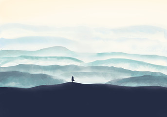 Abstract illustration. Girl looks at the mountains. Digital painting.