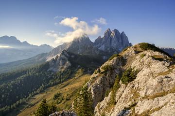 Europe, Italy, Veneto, Auronzo di Cadore, Dolomites. A view towards Cadini di Misurina as seen from the Croda di Ciampoduro, near Città di Carpi alpine hut.