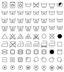 laundry icon set, washing signs for cloth
