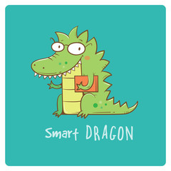 Card with cute cartoon dragon in glasses. Smart reptile with book. Funny animal. Vector contour image. Children's illustration.