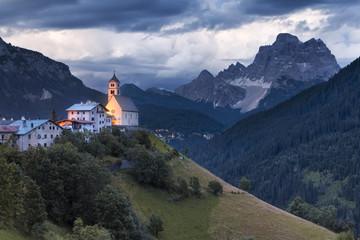 Europe, Italy, Veneto, Belluno. The village of Colle Santa Lucia, Agordino, Dolomites