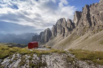 Europe, Italy, Friuli Pordenone. The bivouac Granzotto - Marchi in Val Monfalcon Forni towards the Croda Ultima del Leone, the White fork and the homonymous peak on his left.