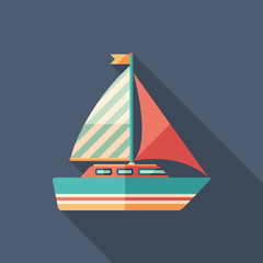 Sailing yacht flat square icon with long shadows.