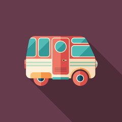 Vintage camper van flat square icon with long shadows.