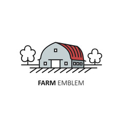Vector logo design template of farm symbol in linear style - farmhouse. Country Concept.