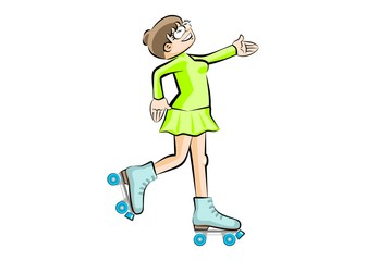 Woman on roller skates. Isolated on white background