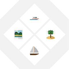 Flat Beach Set Of Coconut, Boat, Yacht And Other Vector Objects. Also Includes Boat, Reminders, Vessel Elements.