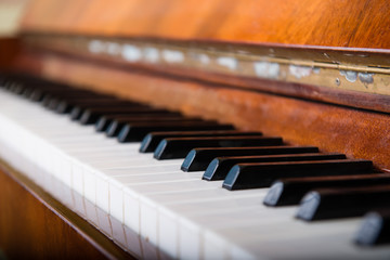 Piano keys close-up, Shallow dof
